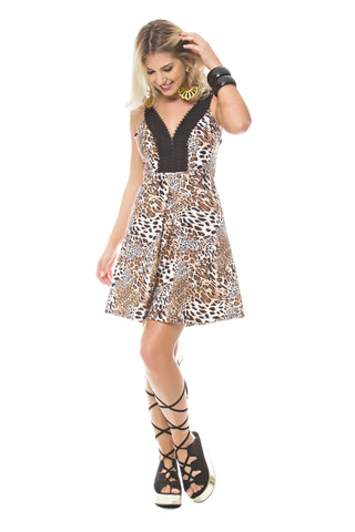 Animal Print A-Line Dress with Lace V-Neck