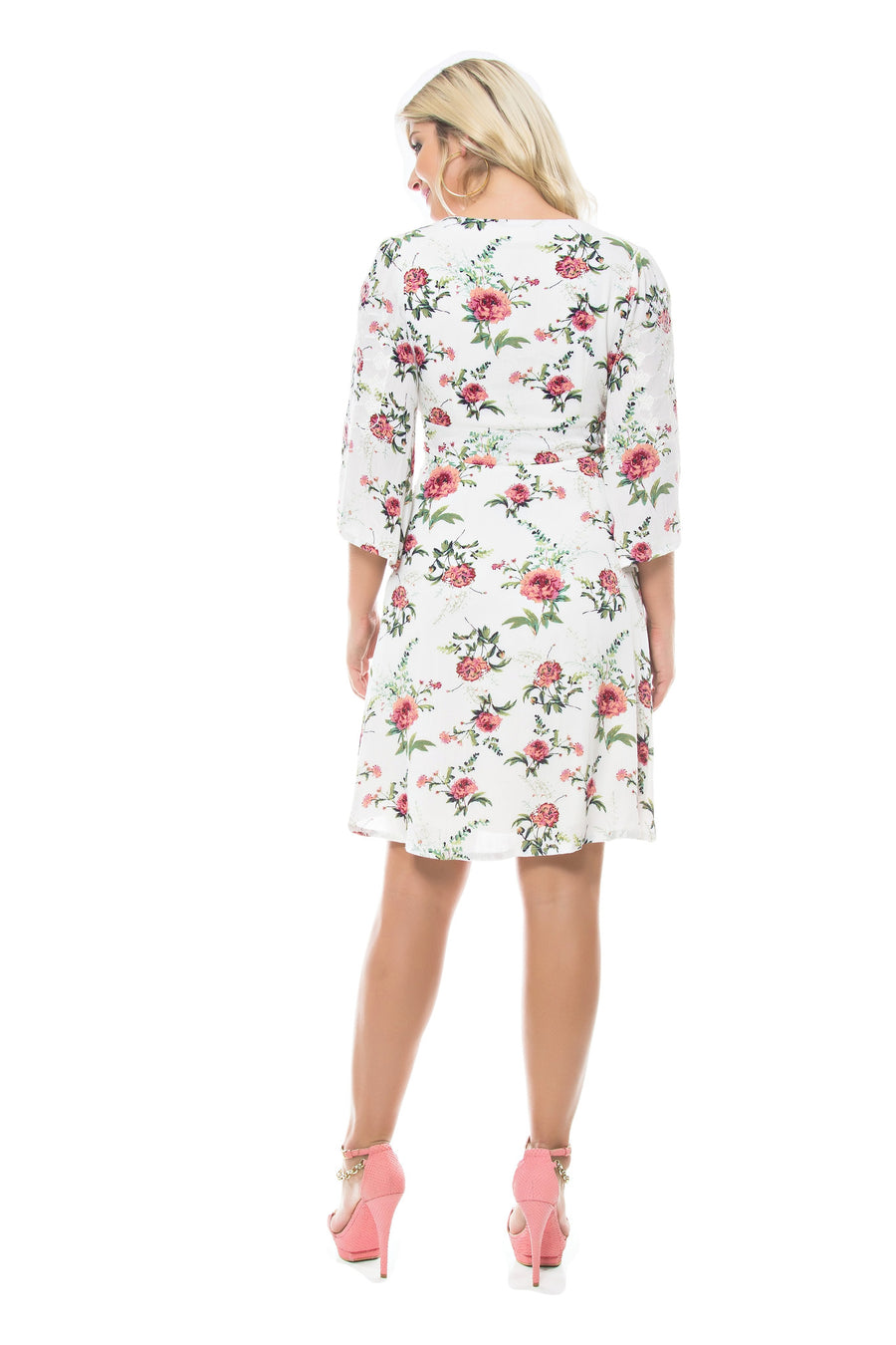 Floral 3/4 Sleeve Dress