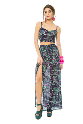 Floral Crop Top and Maxi Skirt Set
