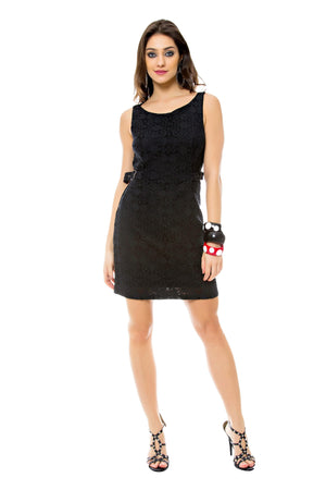 Black Lace Dress with Buckle Detail