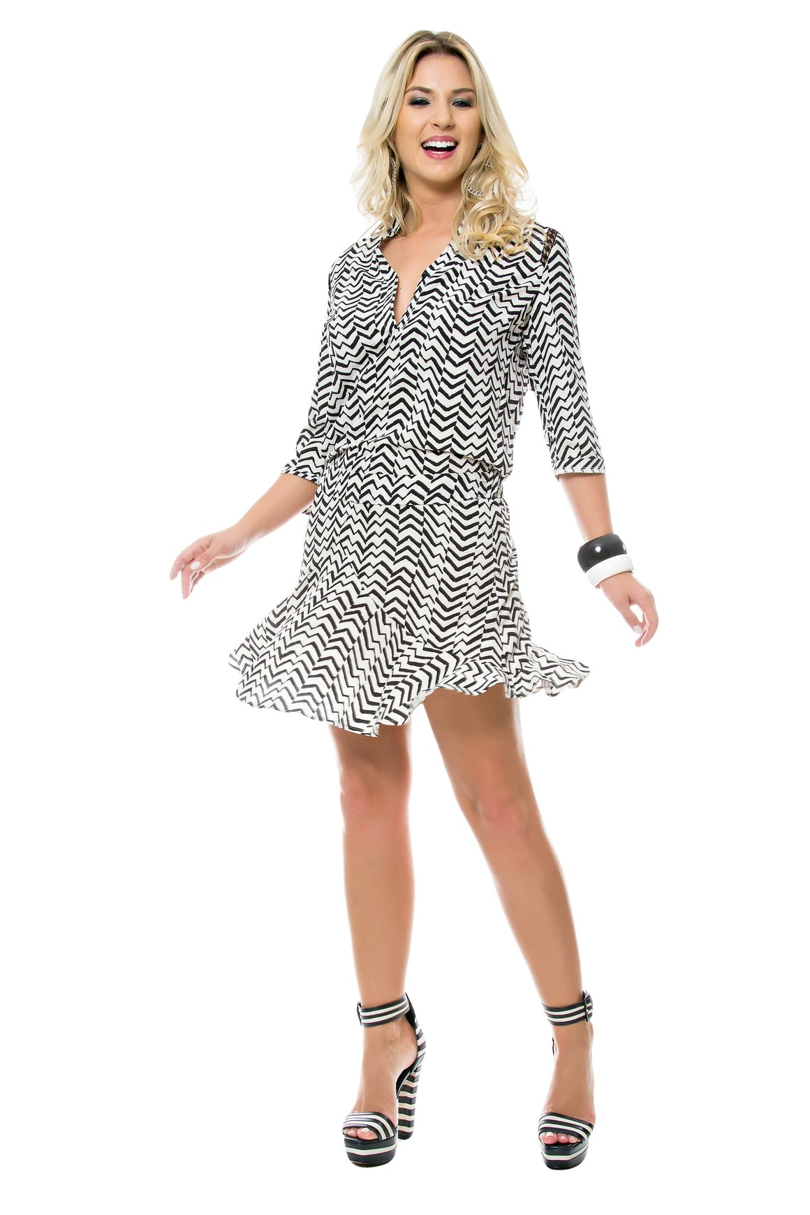 9a02f881ee800d Zig Zag Flare Dress
