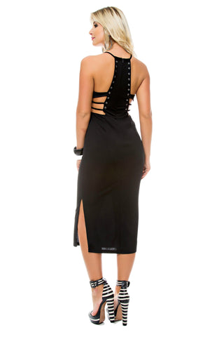 Grommet Plunging Midi Dress