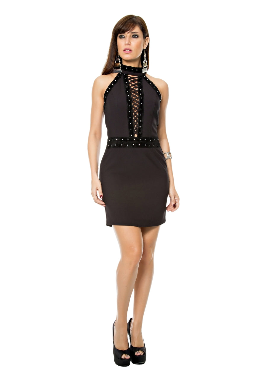 Studded Halter Dress