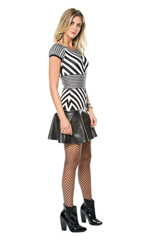 Duo Tricot-Faux Leather Dress
