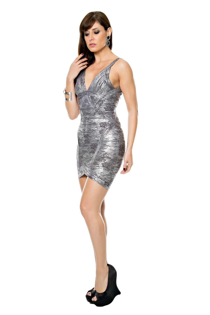 Metalic Foil Bandage Dress