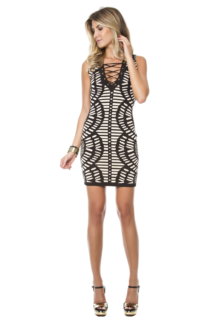 Lace-up Scallop Tricot Dress