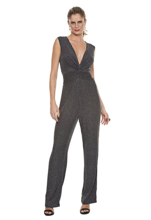 Knot Front Glittery Jumpsuit