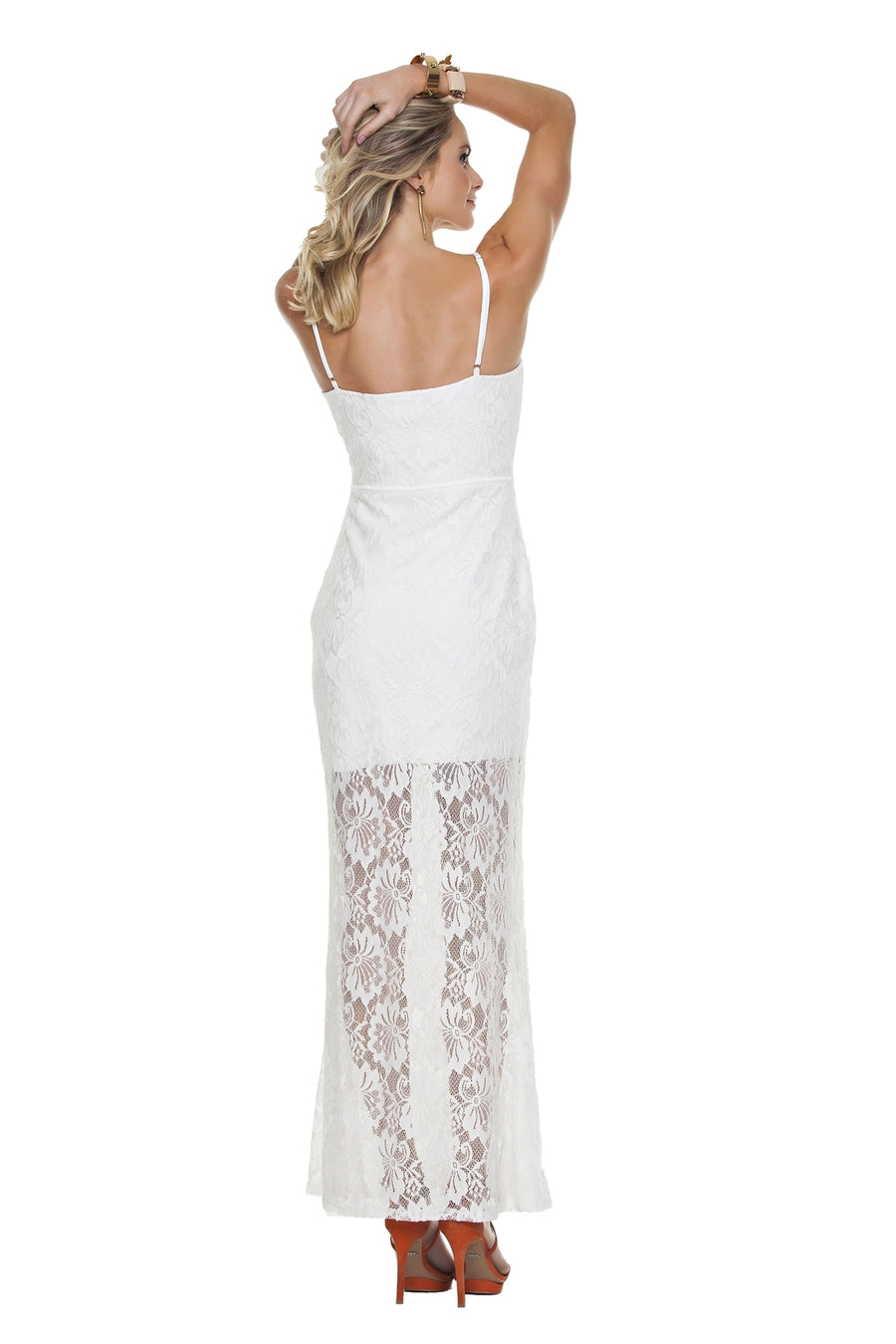 Floral Lace Overlay Maxi Dress