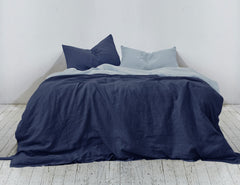 Naughty Linen double colour duvet cover in Navy Aqua