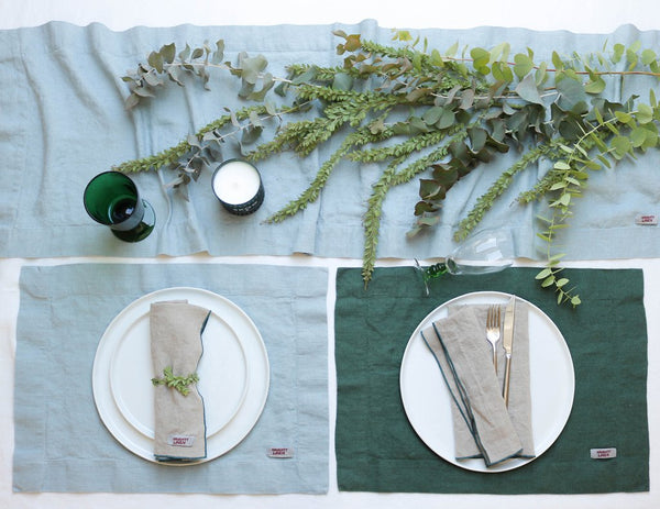 Linen napkin with Pine border - Naughty Linen