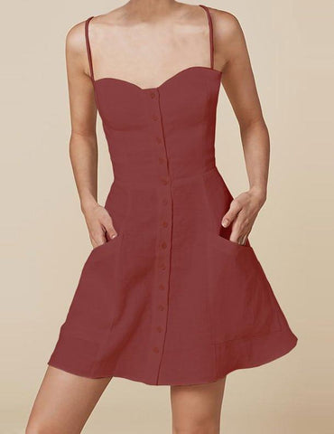 Short linen dress with buttons in Marsala