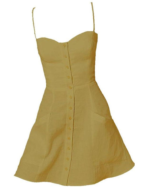 Short linen dress with buttons in Senf - Naughty Linen