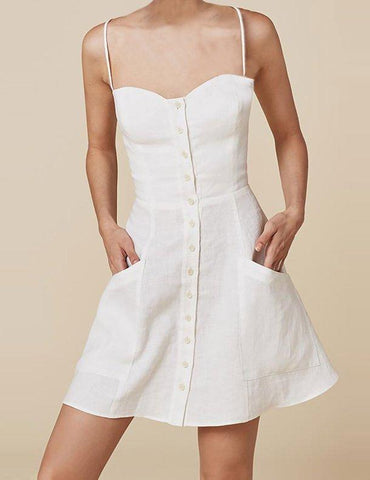 Short linen dress with buttons in White