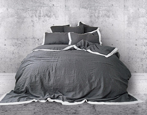 Naughty linen duvet cover Grey/White - Naughty Linen