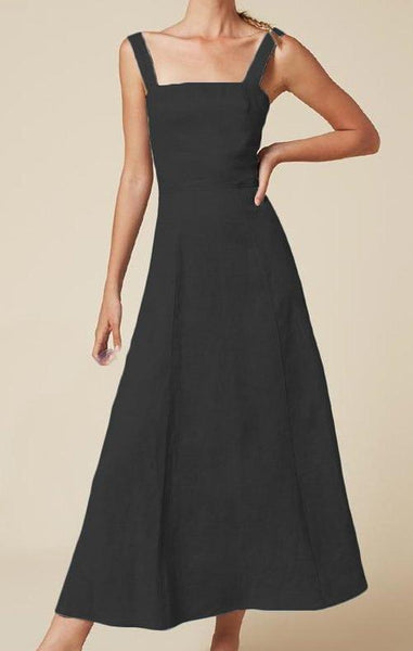 Long Linen dress in Black - Naughty Linen