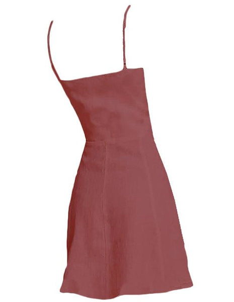 Short linen dress with buttons in Marsala - Naughty Linen