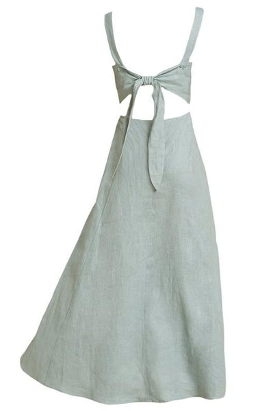 Long Linen dress in Olive - Naughty Linen