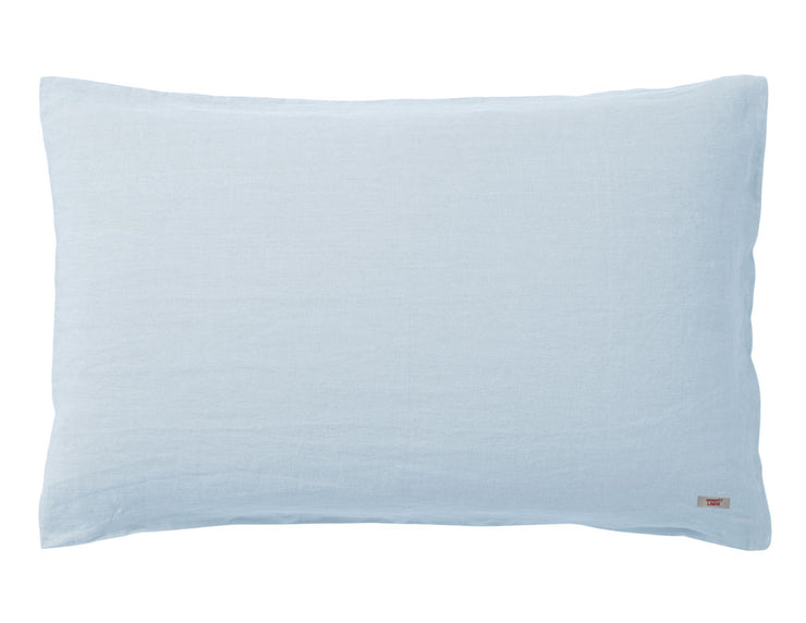 Blended two-color Baby blue/White linen duvet cover - Naughty Linen