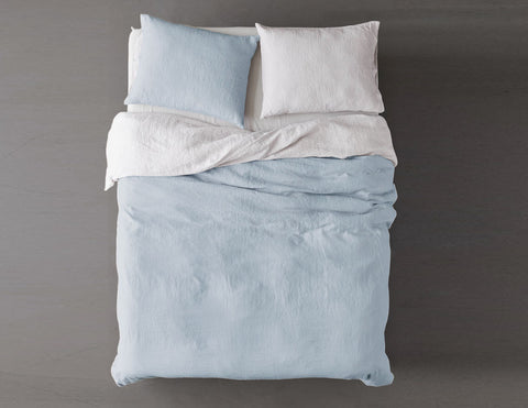 Blended two-color Baby blue/White linen duvet cover