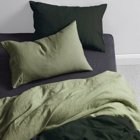 naughty linen double colour washed linen duvet cover pine olive