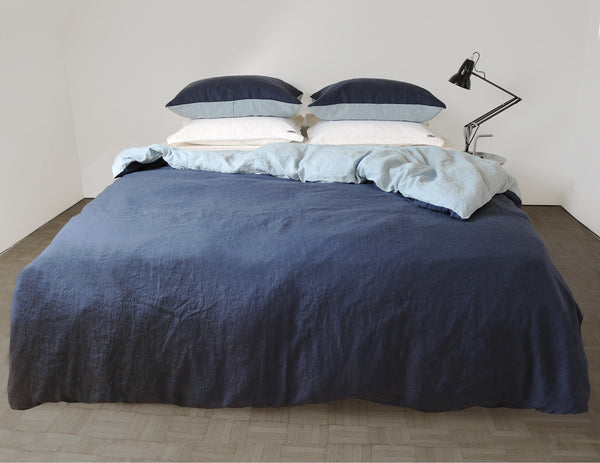 Blended double color linen duvet cover Navy/Aqua - Naughty Linen