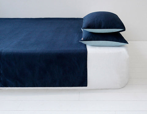 Blended double color linen duvet cover Navy/Aqua