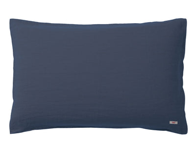 Blended double color linen pillowcase Navy/Aqua