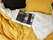 Blended double color linen pillowcase Senf/White - Naughty Linen