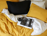 Blended double color linen duvet cover Senf/White - Naughty Linen