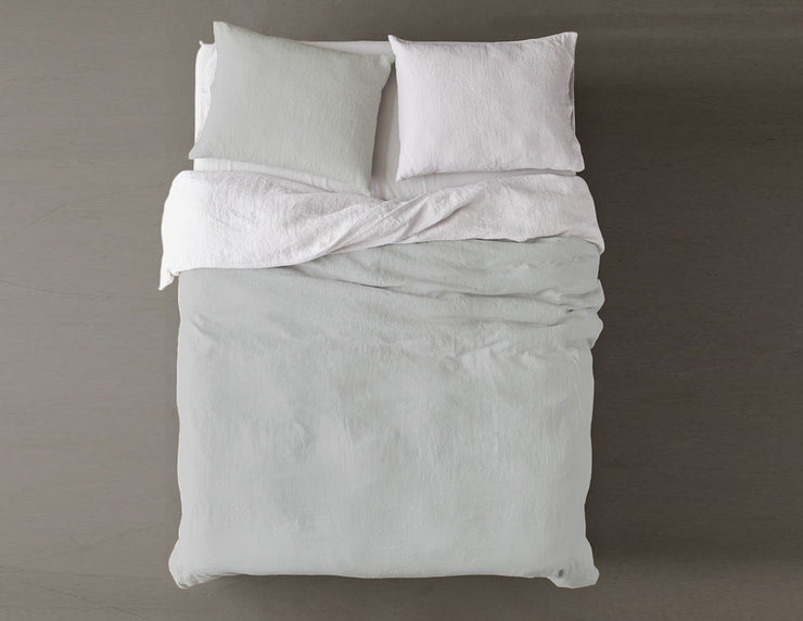 Blended two-color Silver mist/White linen duvet cover - Naughty Linen