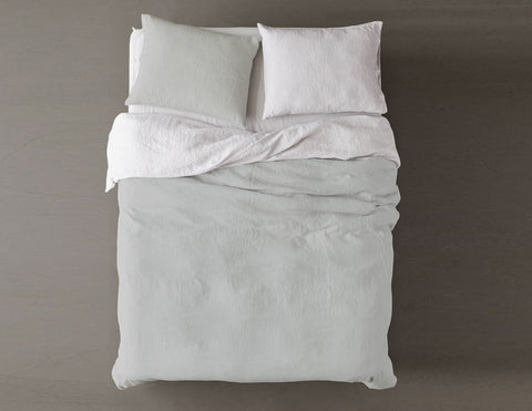 Blended two-color Silver mist/White linen duvet cover