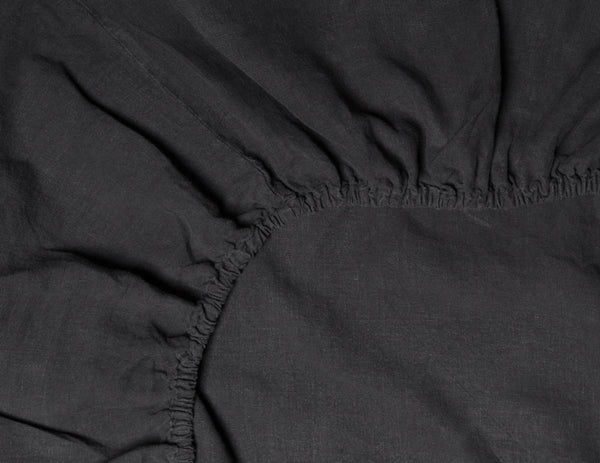 Fitted linen sheet Black - Naughty Linen