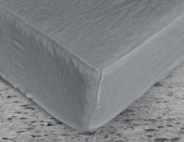 Fitted linen sheet Grey - Naughty Linen