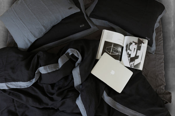 Naughty linen duvet cover Black/Grey - Naughty Linen