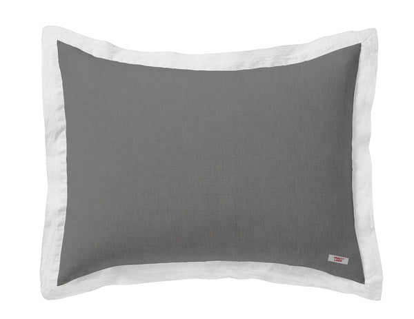 Naughty linen pillowcase Grey/White border