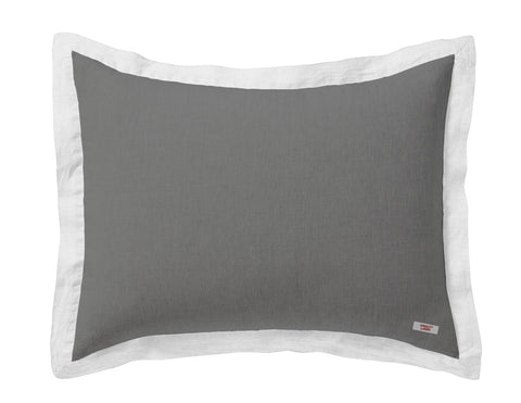 Naughty linen pillowcase Grey/White border - Naughty Linen