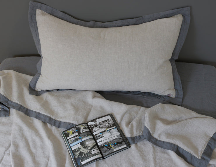 Naughty linen duvet cover Melange grey/Grey border - Naughty Linen