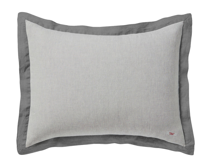 Naughty pillowcase Melange grey/Grey border - Naughty Linen