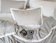 Naughty linen duvet cover Mixed grey/White border - Naughty Linen