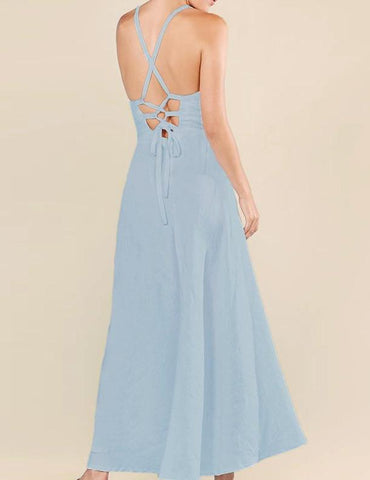 Lace up long dress in Aqua - Naughty Linen