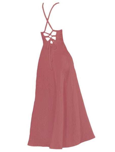 Lace up long dress in Marsala - Naughty Linen