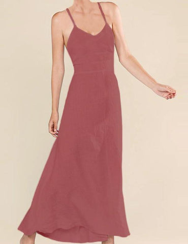 Lace up long dress in Marsala
