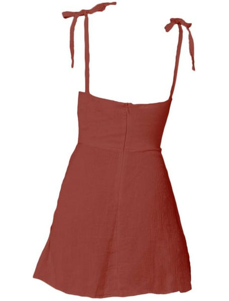Mini linen dress in Marsala