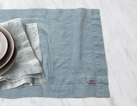 Linen table runner in Aqua - Naughty Linen