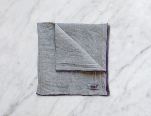 Linen napkin with Plum border - Naughty Linen