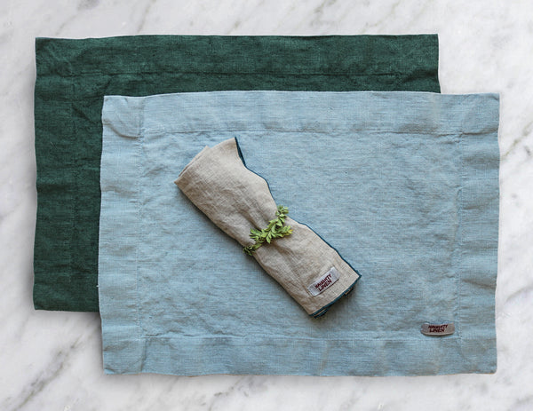 Linen table runner in Aqua