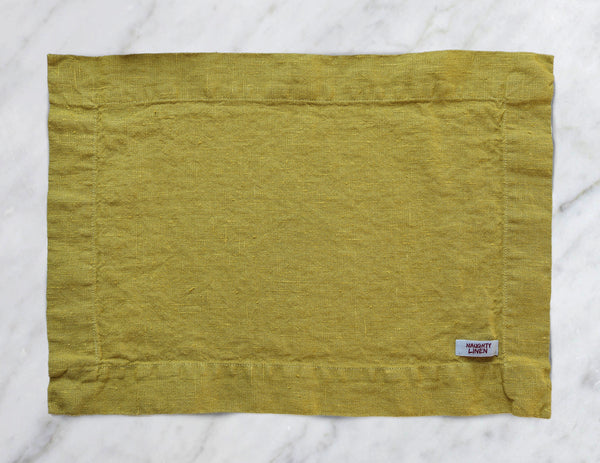Linen placemat in Mustard - Naughty Linen