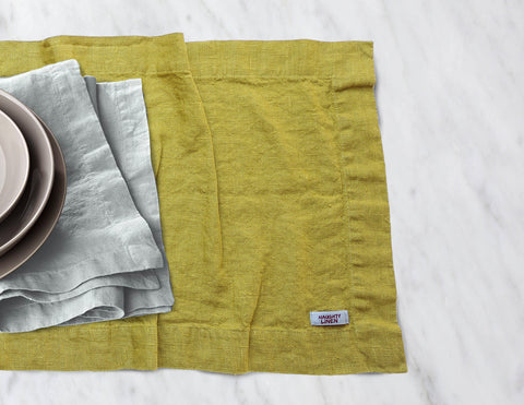Linen table runner in Mustard - Naughty Linen