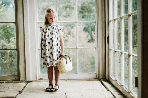 Little Cotton Clothes Bobby Dress Delicate Blue Floral