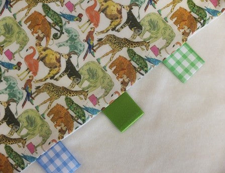 Raggy-Tag Comfort Blanket 'Queue for the Zoo' Liberty Fabric